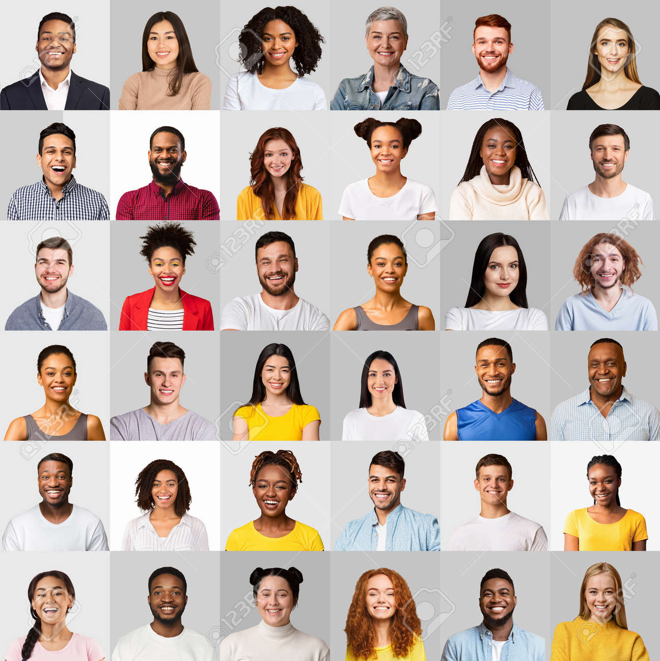 Faces Of Multicultural Young People On Light Gray Backgrounds, Collage - 165837959