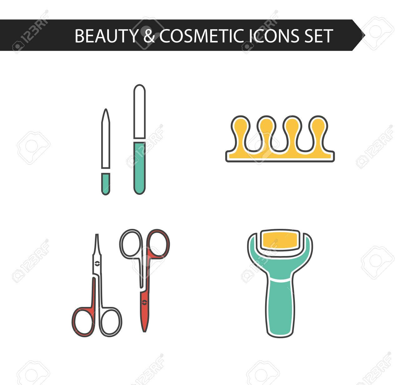 Vector Stylish Thin Line Cosmetics Icons Set Of Pedicure. Electric ...