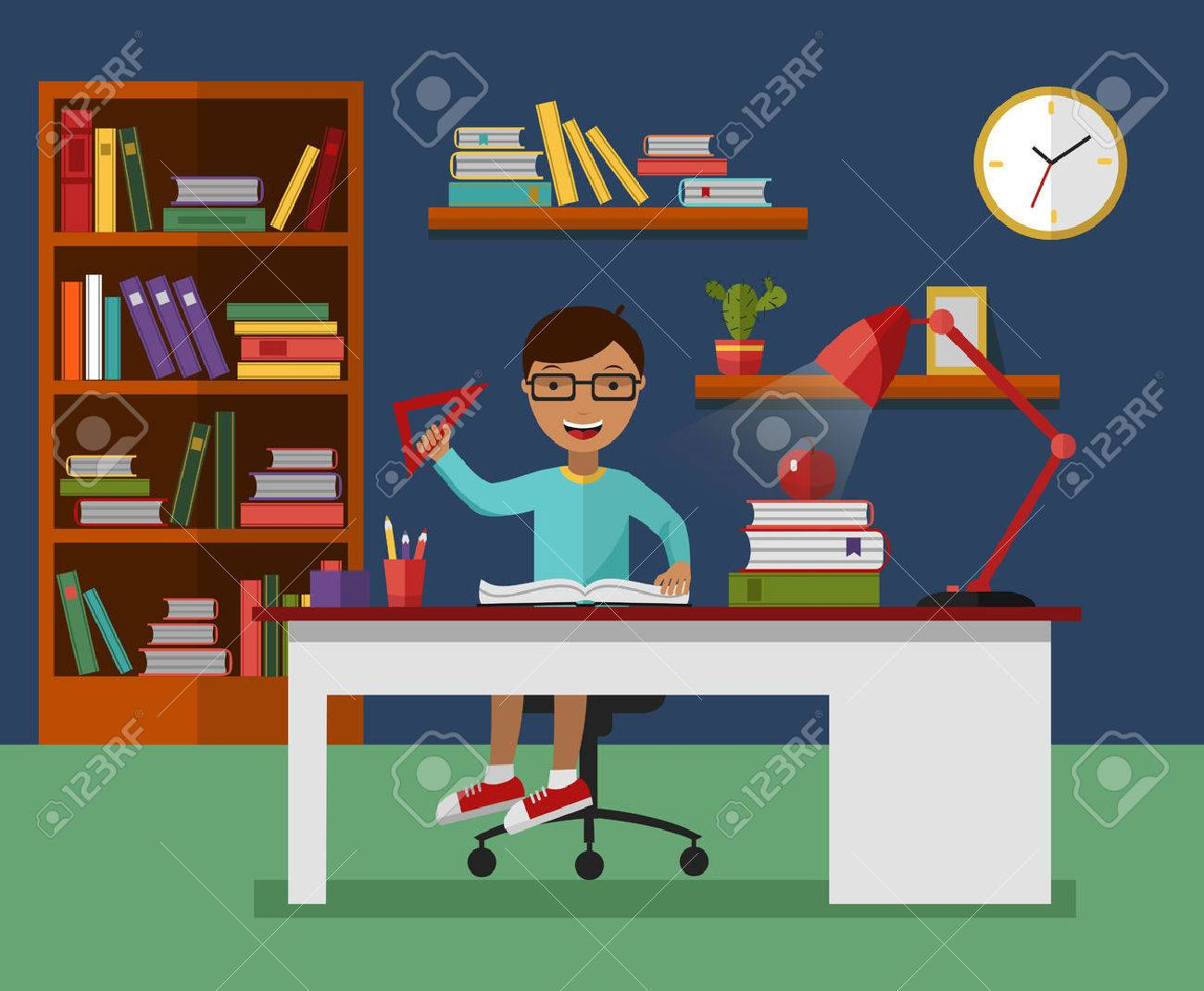 Kid Learns Concept. Child Reading Book And Learning In His Room With  Working Desk,