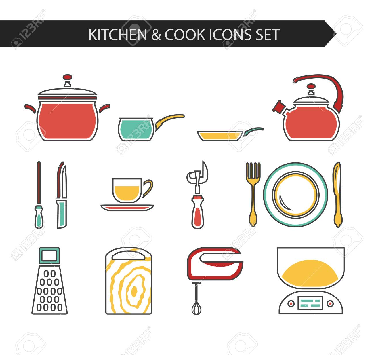 6eac0517b2 Thin line flat vector kitchen and cook icons. Design elements set for  website isolated on