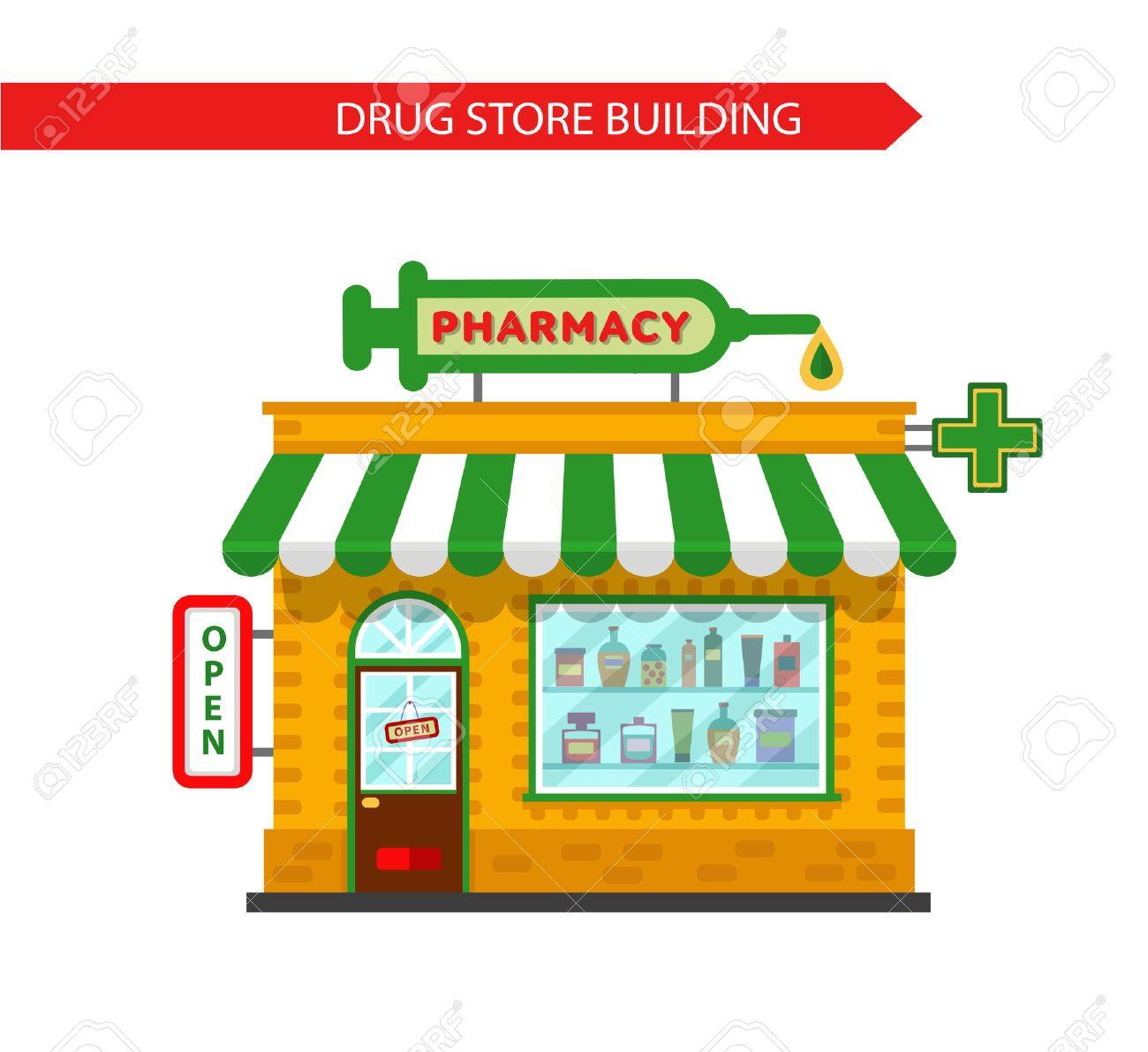 薬局ドラッグ ストア構築のベクトル フラット スタイル イラスト大きな