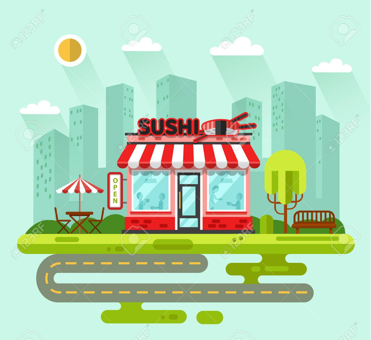 Fancy restaurant buildings clip art - Vector Vector Flat Style Illustration Of City Landscape With Nice Sushi Bar Or Chinese Restaurant Building Street With Road Bench Trees Umbrella