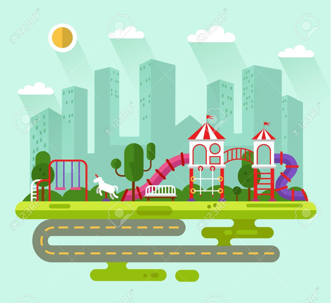 ilustracin paisaje plano del diseo del verano del parque de la ciudad con juegos infantiles y