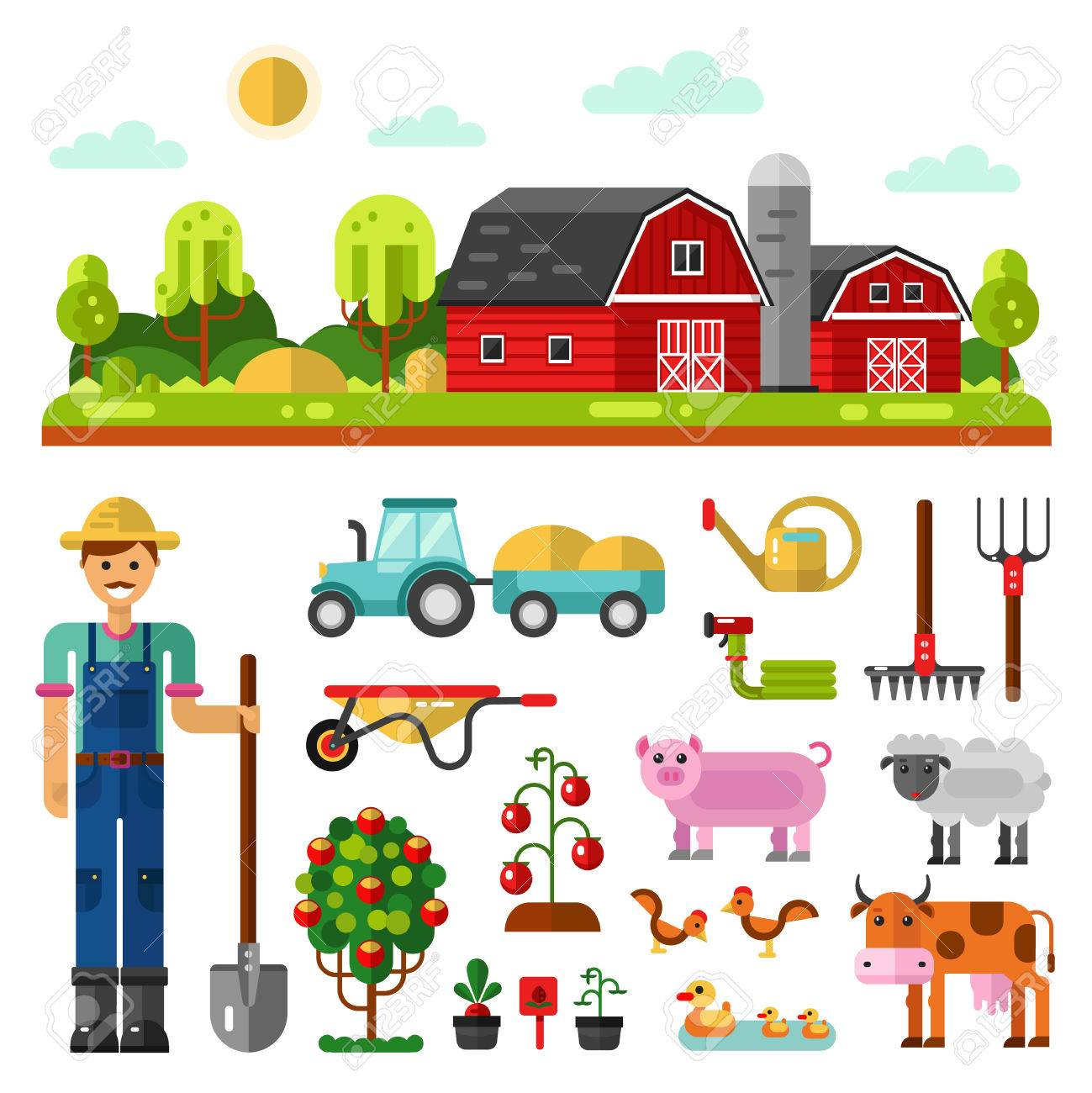 Flat Vector Landscape Illustration With Farm Building Barn Including Icons Of Tractor