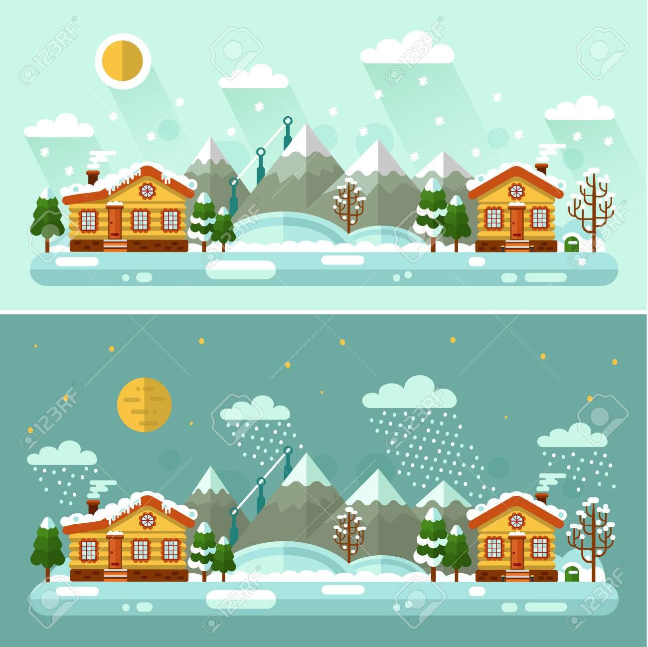 Día del vector del diseño de espacios de la naturaleza Noche paisajes de invierno ilustración con el pueblo, sol, montañas, luna, estrellas, pájaros, nubes, montaña, nieve, nevadas, la nieve acumulada, carámbanos. concepto de buenas fiestas. Foto de archivo - 69008712