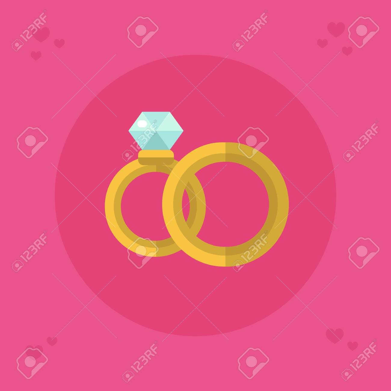 Flat Design Vector Icon Of Beautiful Wedding Rings For Men And ...