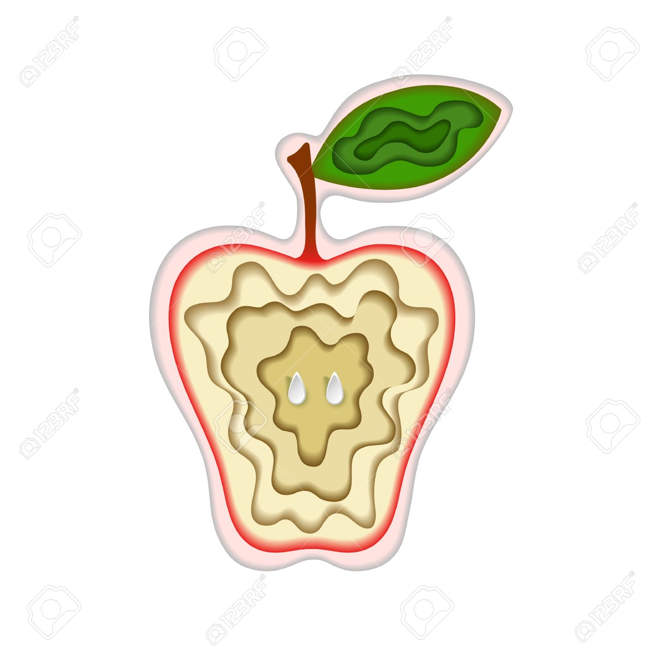 Paper Art Carving With Fruit Layered Cut Out Apple Shape With