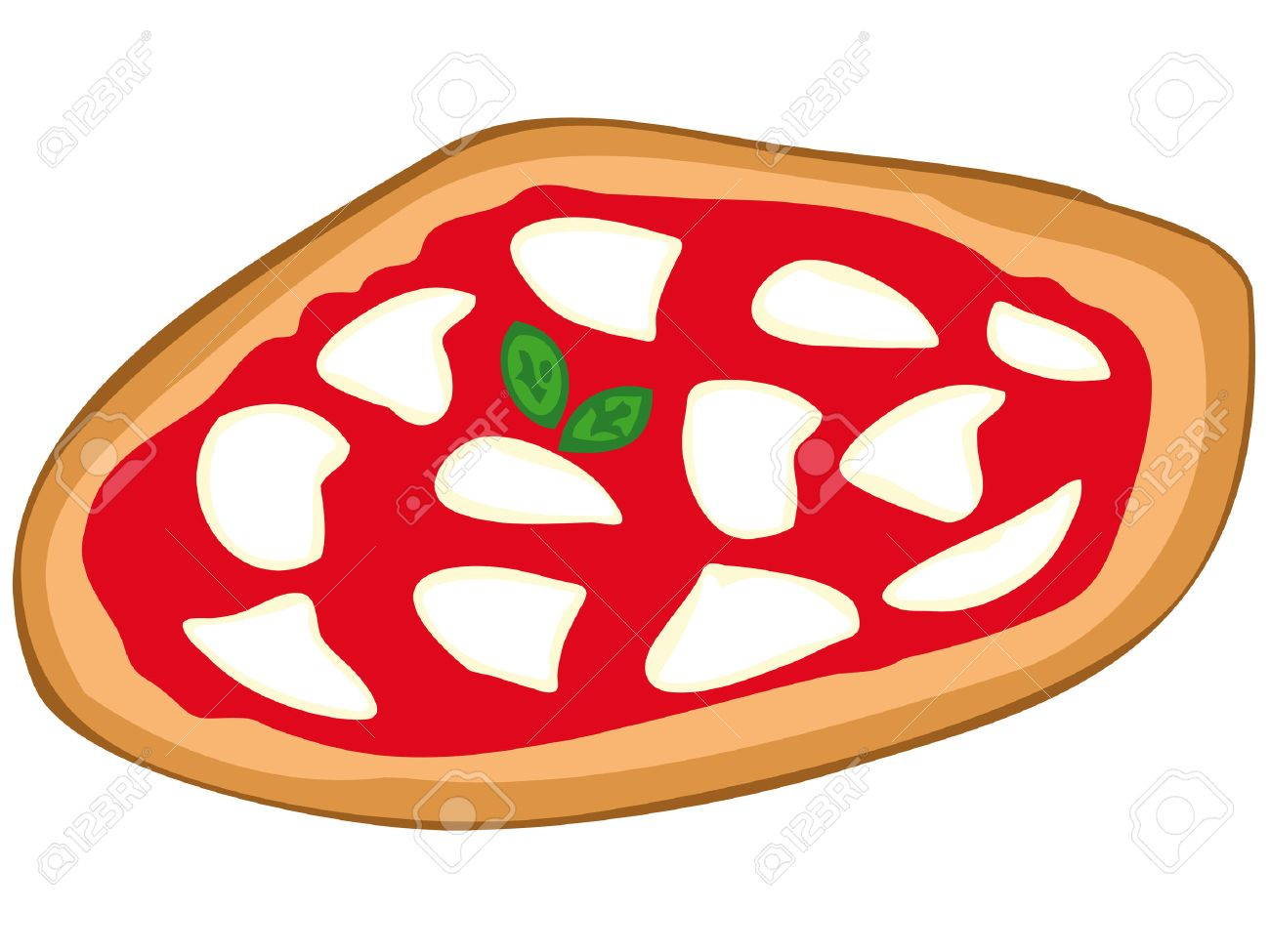 Pizza Margherita With Mozzarella Tomato Sauce And Basil Stock Vector