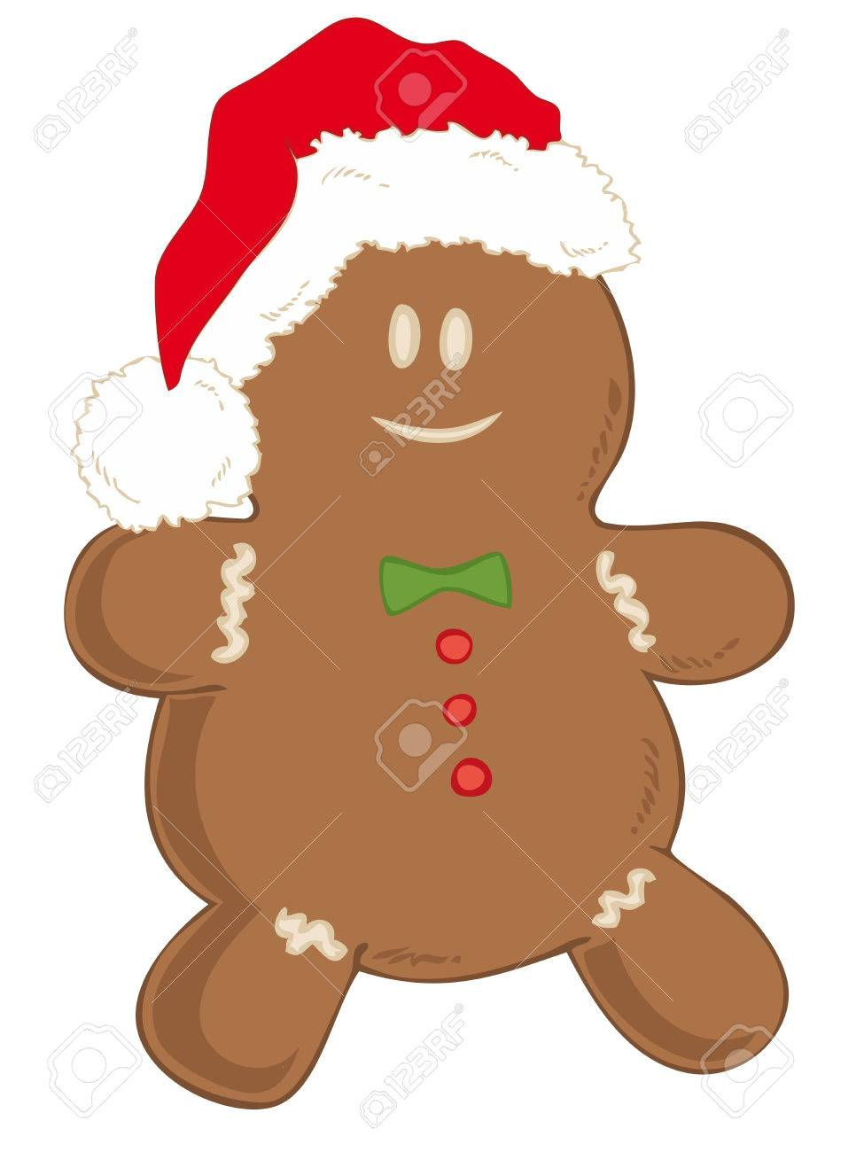 Gingerbread man with Santa Claus Hat. Stock Vector - 8415777