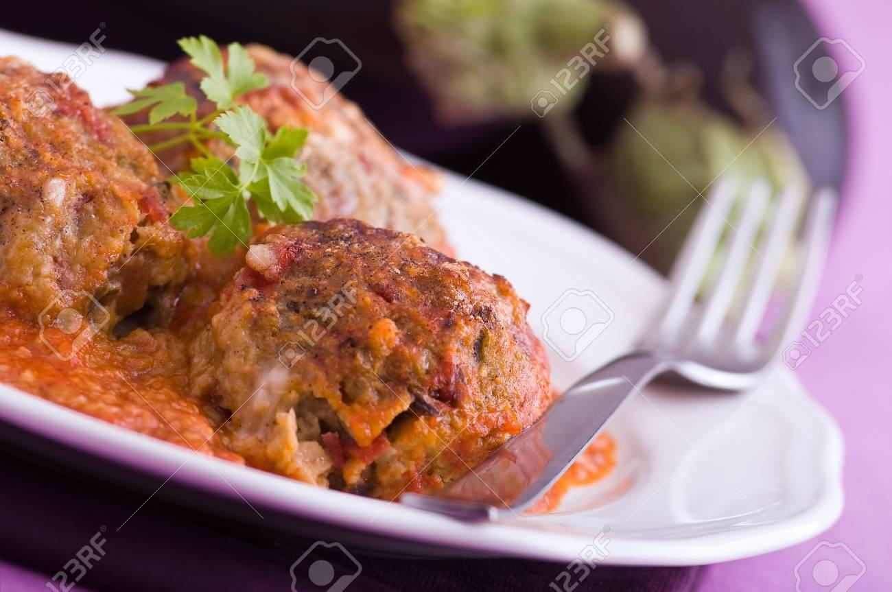 Eggplant meatballs. Stock Photo - 13328509