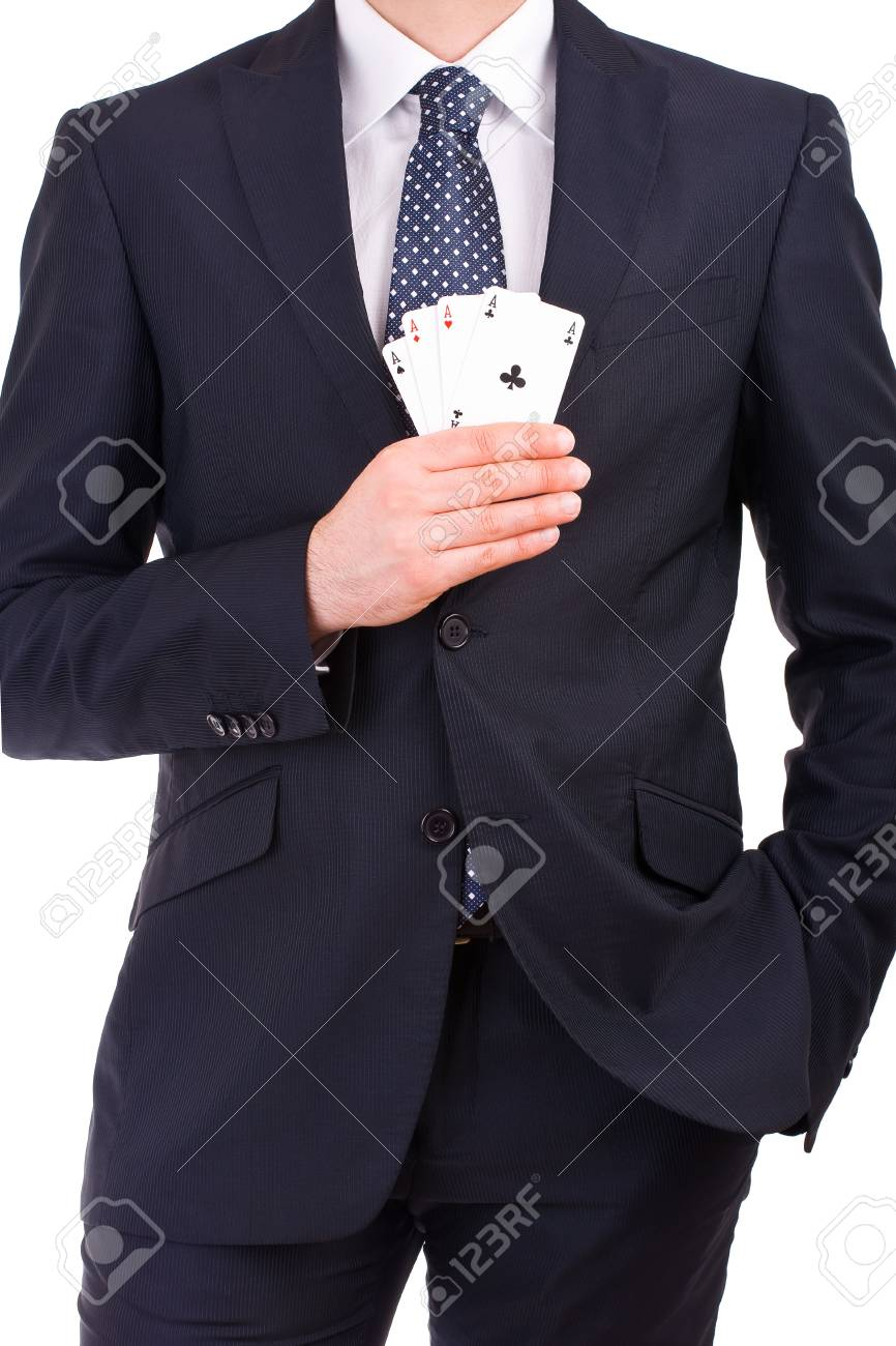 Businessman showing playing cards Stock Photo - 19643774