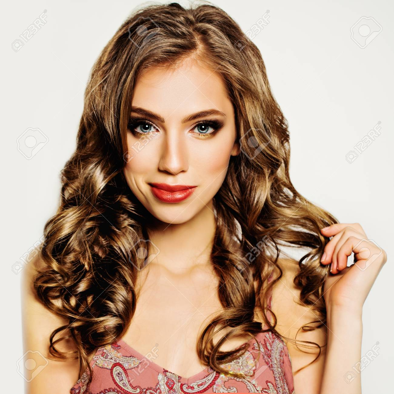 Curly Hair Girl Beautiful Woman Fashion Hairstyle And Make