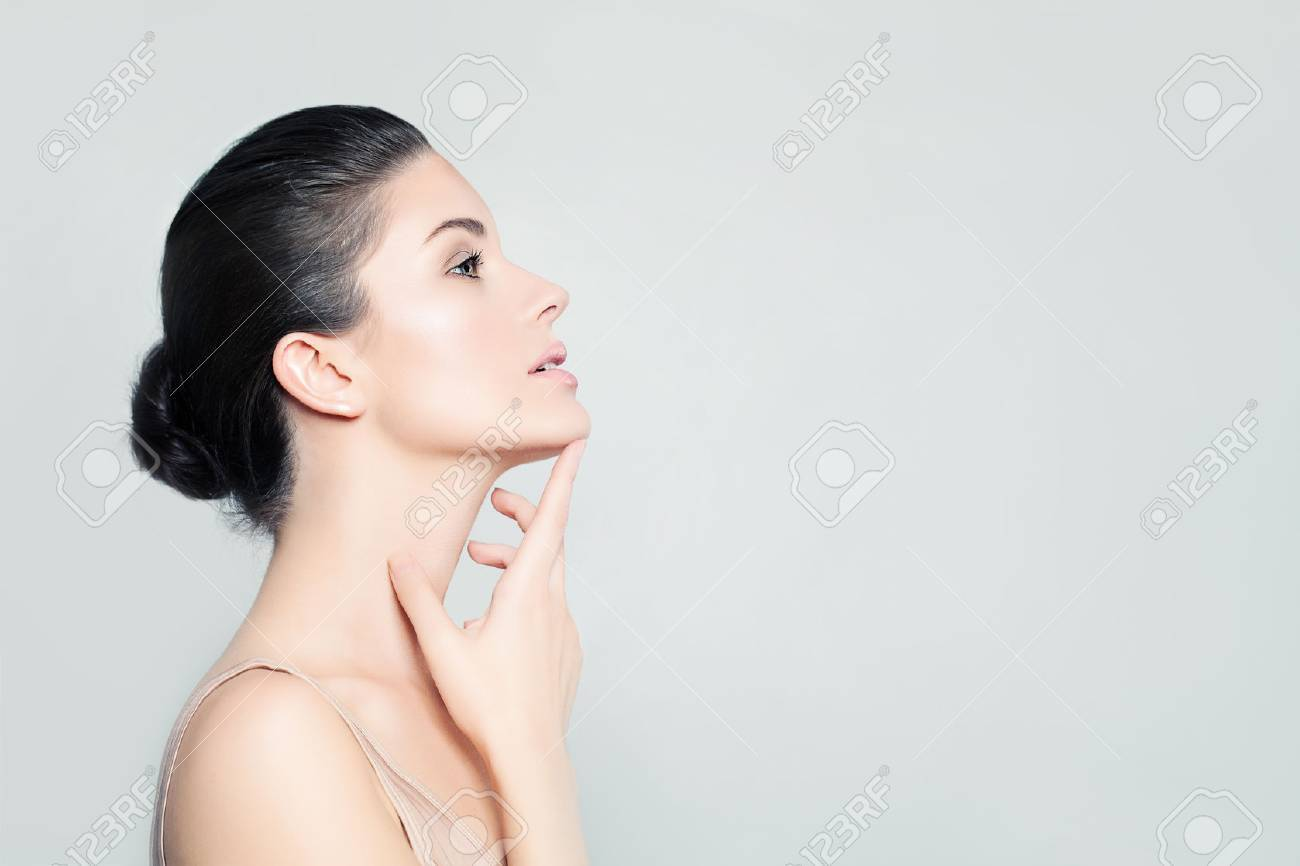 Perfect Young Woman Spa Model With Healthy Skin Touching Her Stock Photo Picture And Royalty Free Image Image 72360732