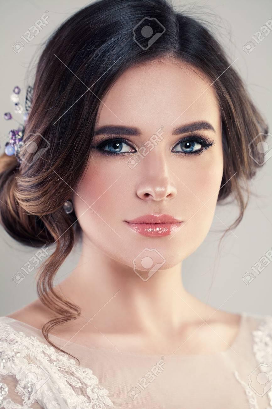 Closeup Portrait Of Beautiful Bride Wearing Fashion Wedding Dress ...
