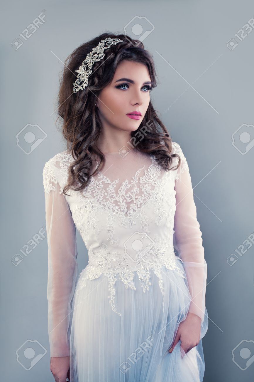 Beautiful Young Woman Wearing Evening Gown. Perfect Bride With ...