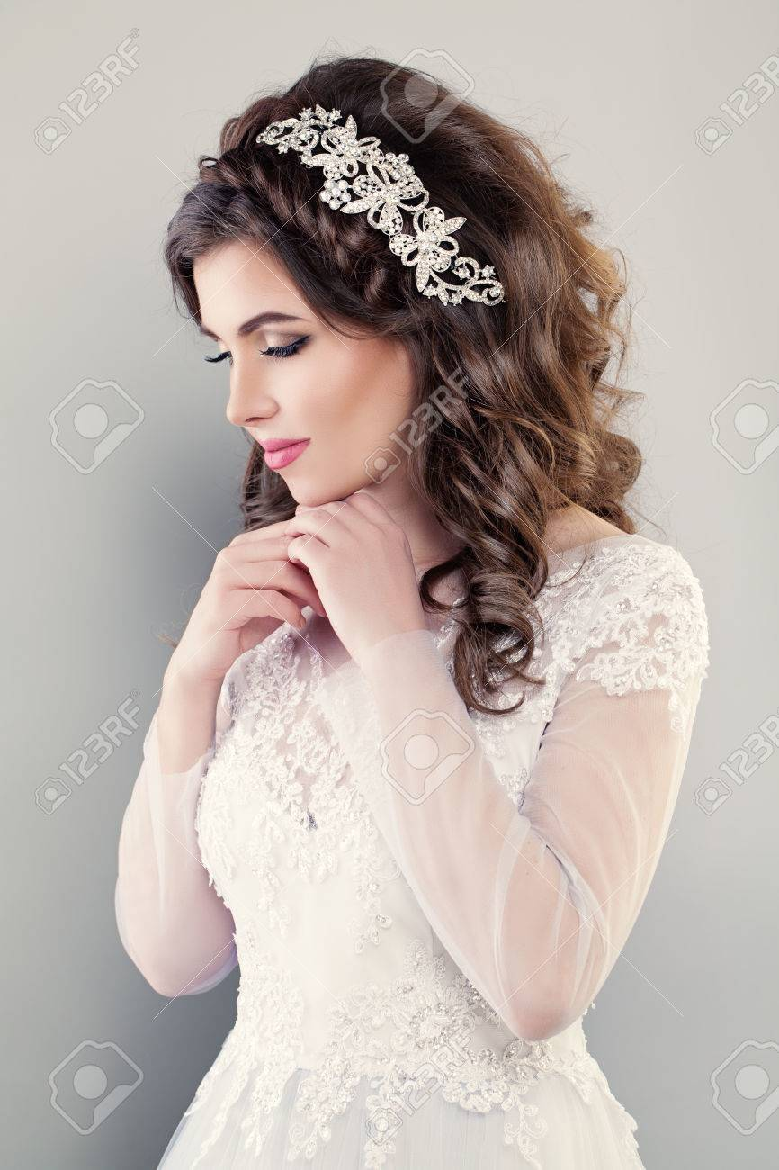 Fashion Portrait Of Pretty Woman Fiancee Wearing White Evening ...