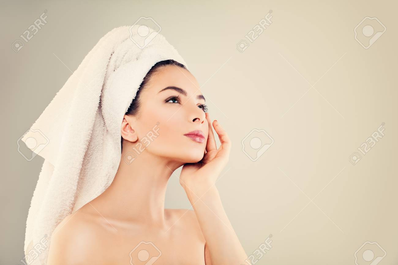Spa Model Woman With Healthy Skin And White Towel After Bath.. Stock ...