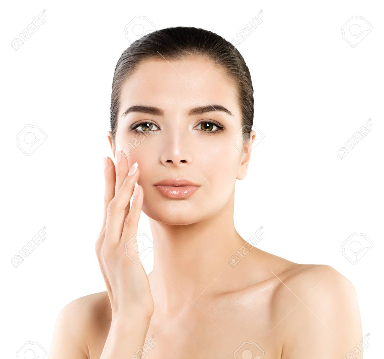 Cute Spa Model Woman With Healthy Skin Touching Her Hand Her Stock Photo Picture And Royalty Free Image Image 83911875
