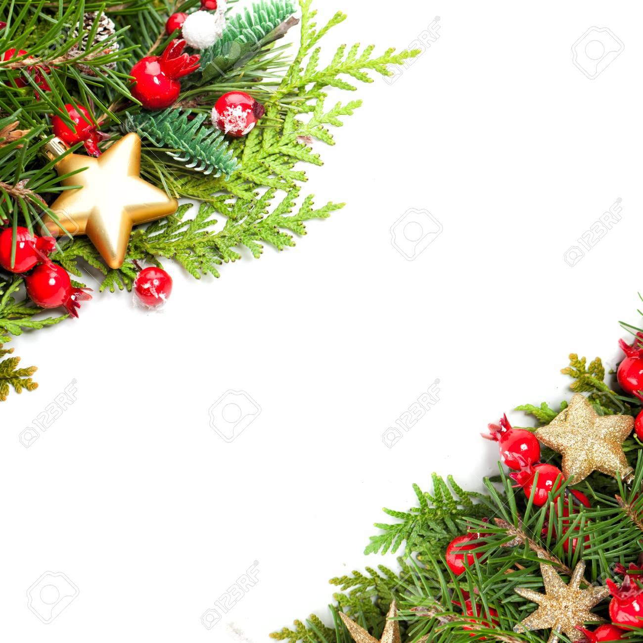 Beautiful Christmas Background Design.Beautiful Christmas Background With Xmas Tree Twig Red Holly