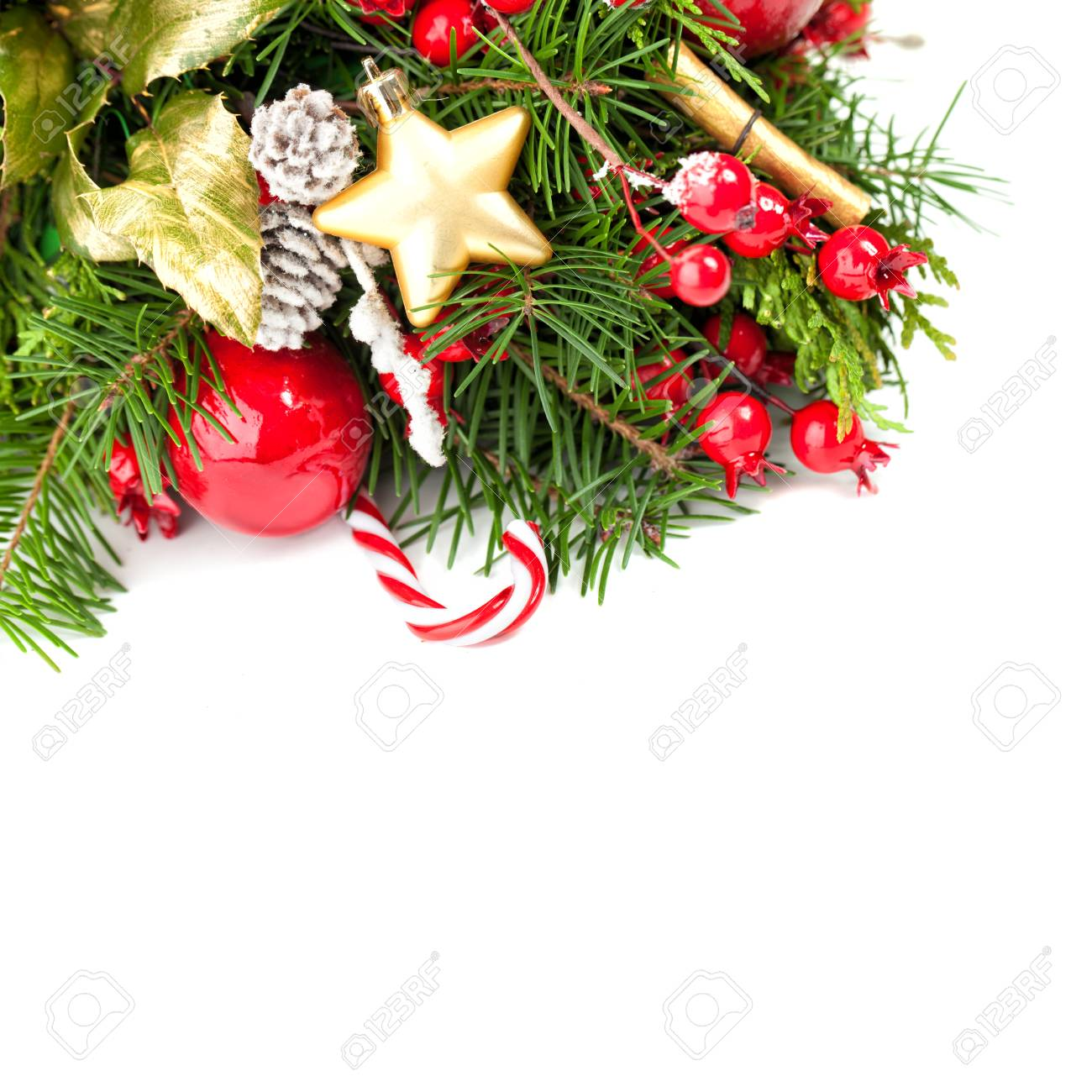 christmas border on white background new year or christmas background with xmas decor xmas