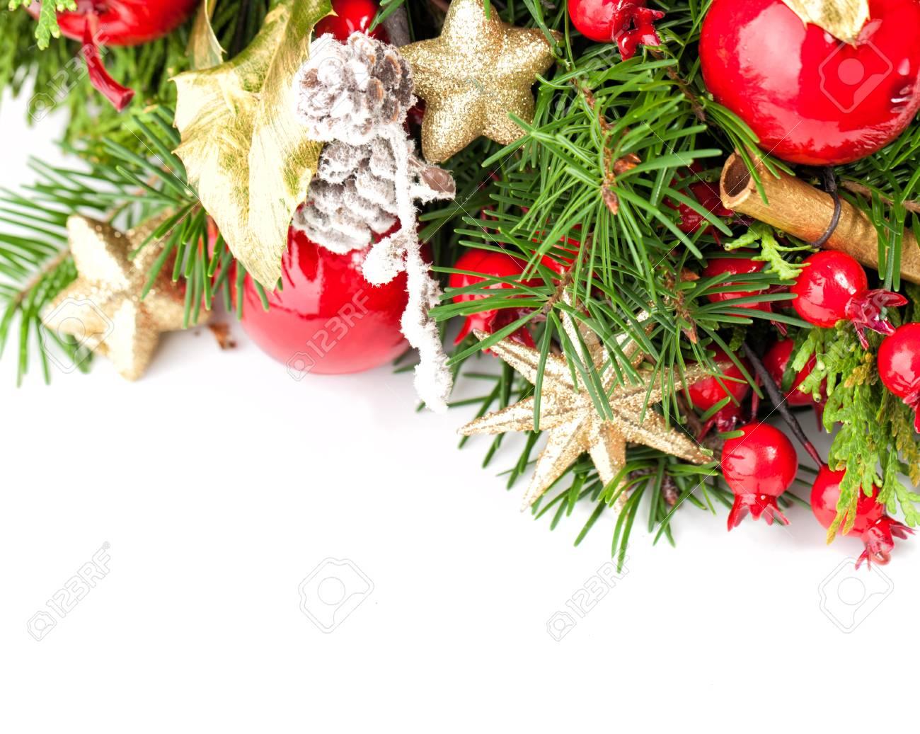 Beautiful Christmas Background Images.Beautiful Christmas Background Border Of Xmas Decoration On White