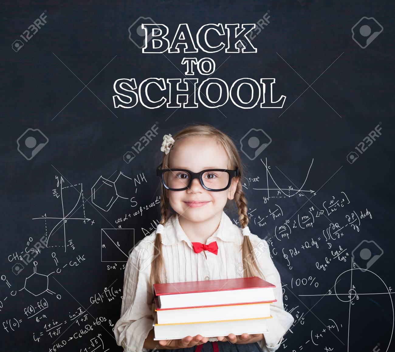 Pupil Child Girl With Pigtails Hairstyle On Science Blackboard