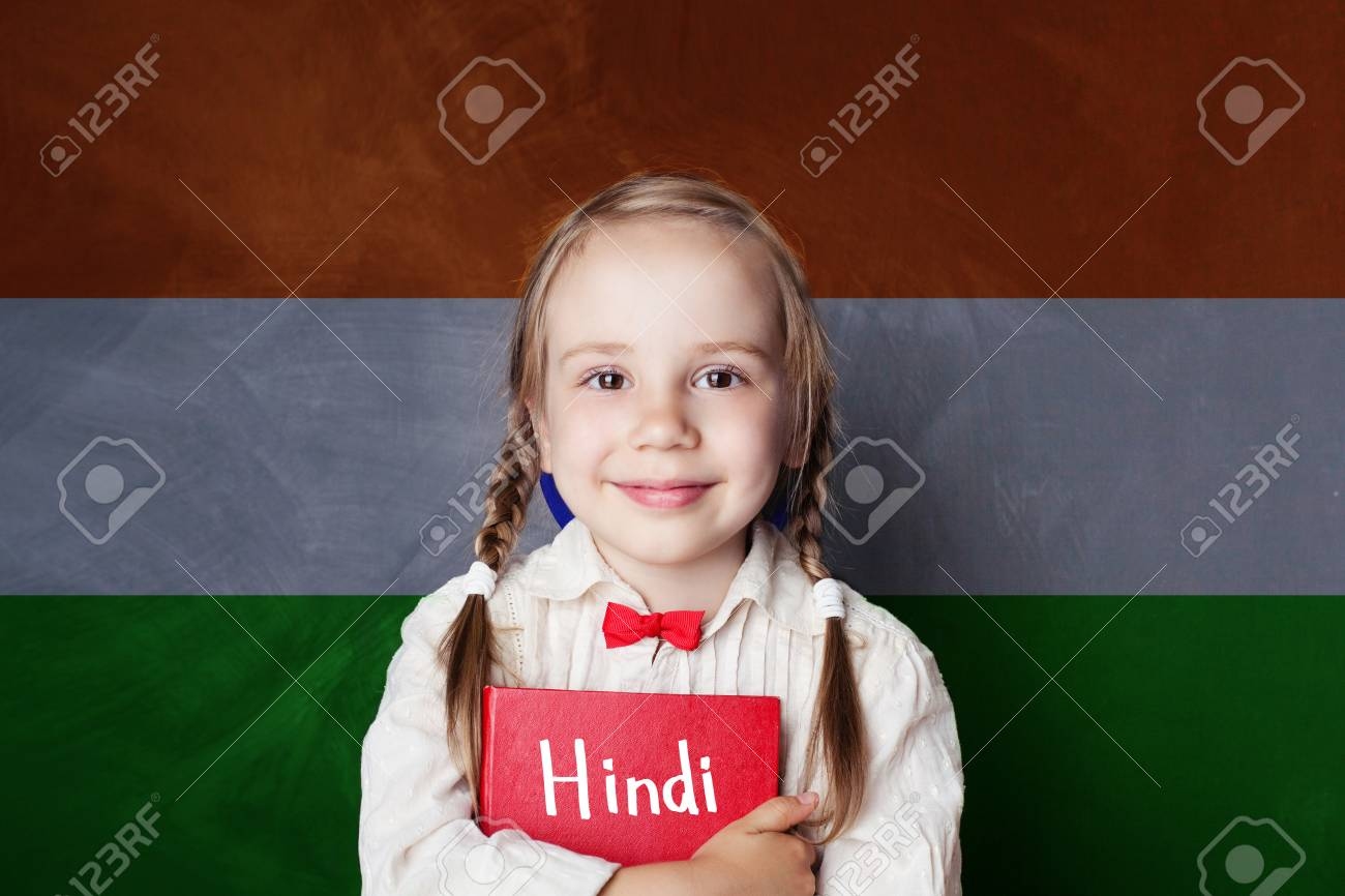 Hindi Concept With Little Girl Student Against The India Flag