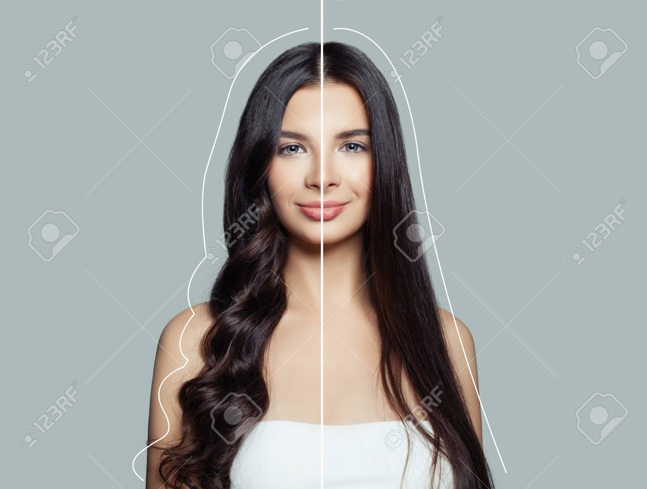 Woman brunette with curly and straight hair after using a hair straightener and hair ironing. Hair care concept - 115925900