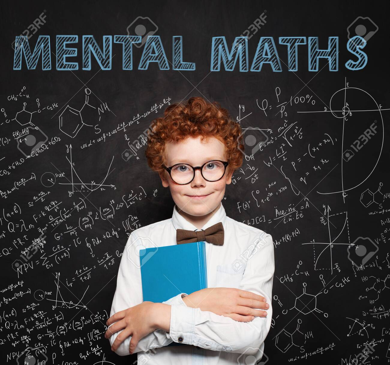 Curious child on school chalkboard background. Mental maths and early development concept - 129957980