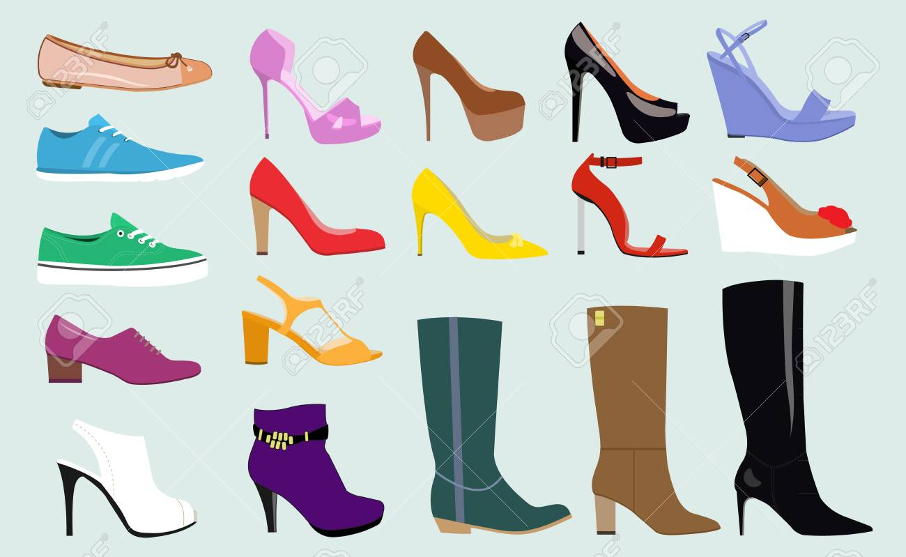 243a1992bf Set with different types of trend women's shoes: ballets, sneakers, boots,  flats