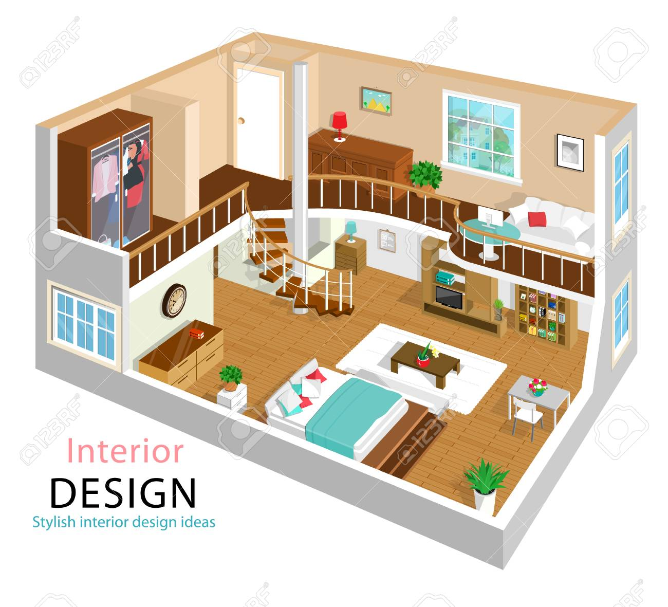 Superior A Vector Illustration Of A Modern Detailed Isometric Apartment Interior  Design. 3d Isometric Room Interiors