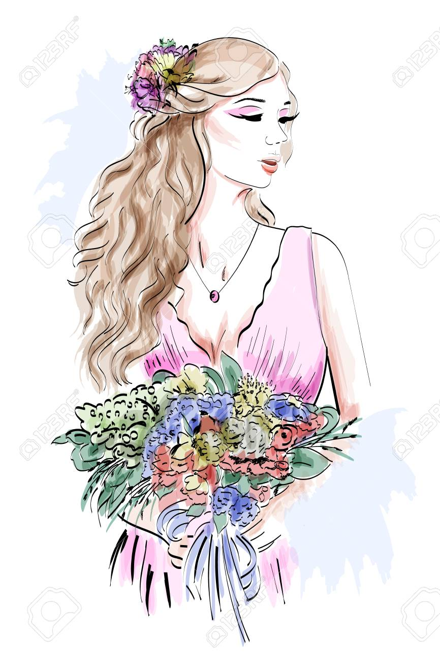 Portrait Of Beautiful Young Girl With Flowers Hand Drawn Woman
