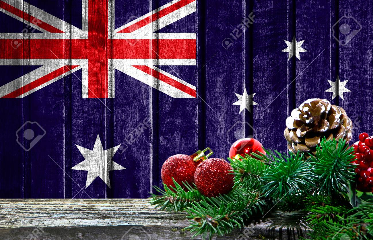 Christmas In Australia Background.Wooden Christmas Background With A Flag Of Australia There Is