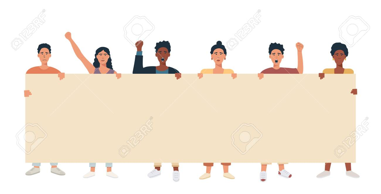 A group of people mix race multicultural holding big banner and protesting. Protesters with blank placard for text announcement or ad. Vector flat illustration. - 149552643