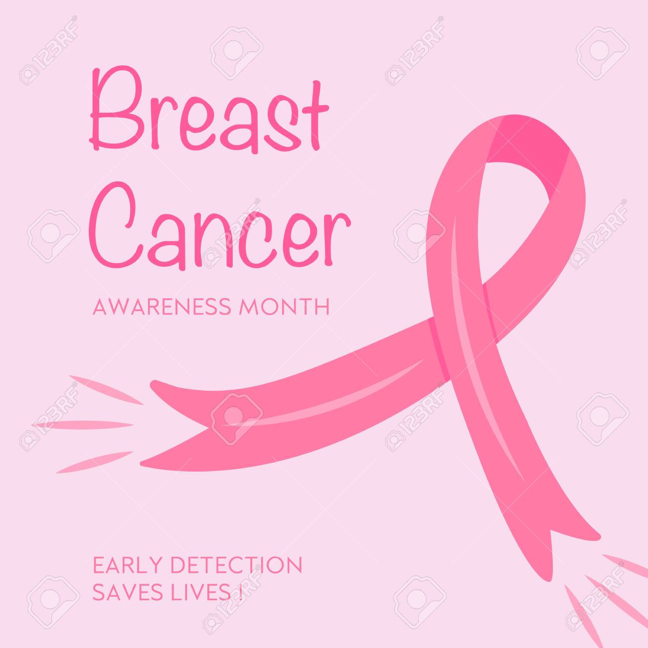 Poster for Breast Cancer Awareness Month. Flyer for october campaign against woman oncology illness. Placard with a pink ribbon. illustration. Banner. - 154344394
