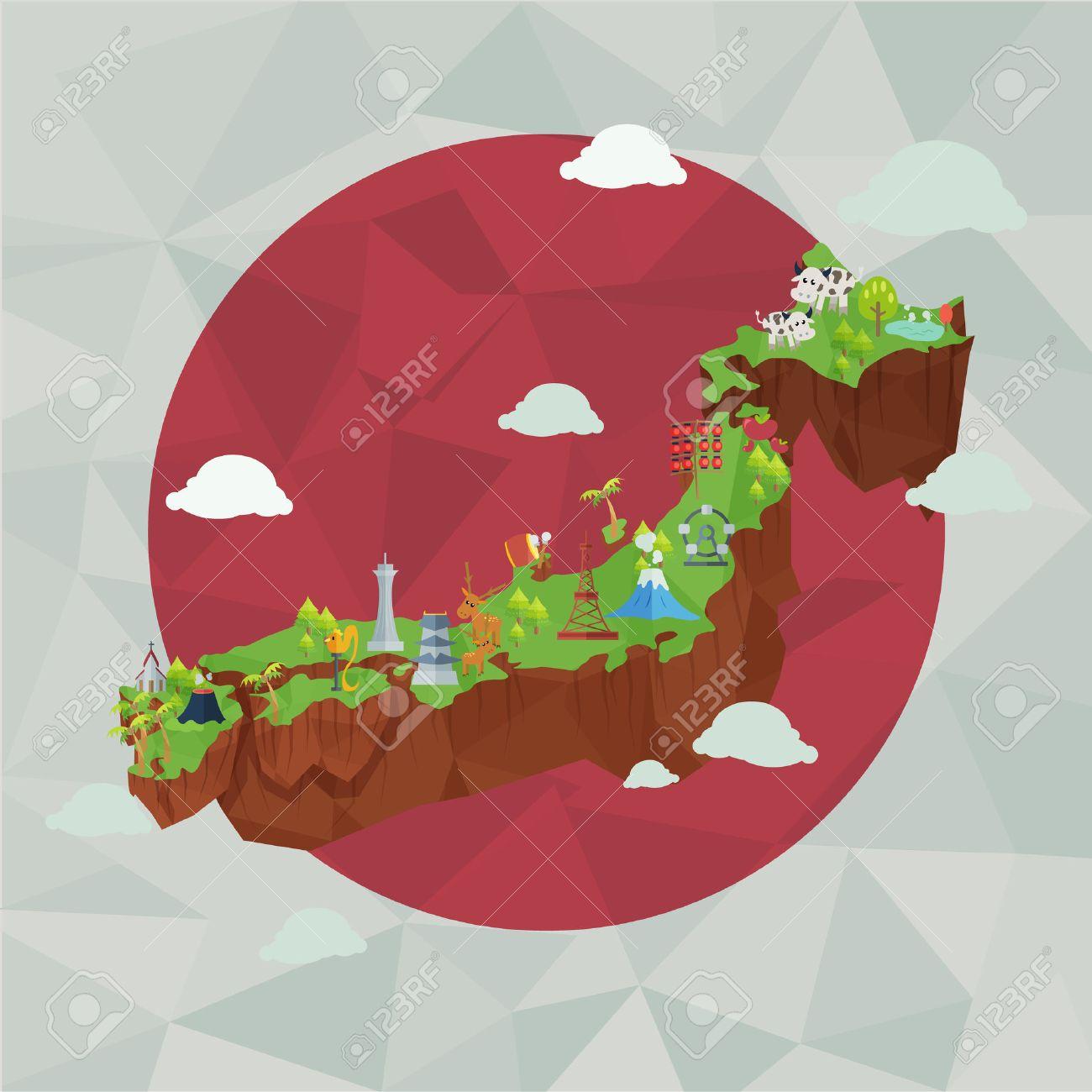 日本のかわいい地図、日本のランドマーク、文化。 ロイヤリティフリー