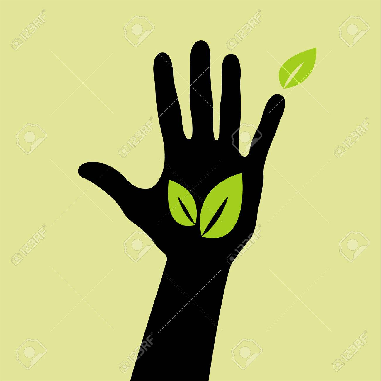 hand with leaf sign Stock Vector - 8754271