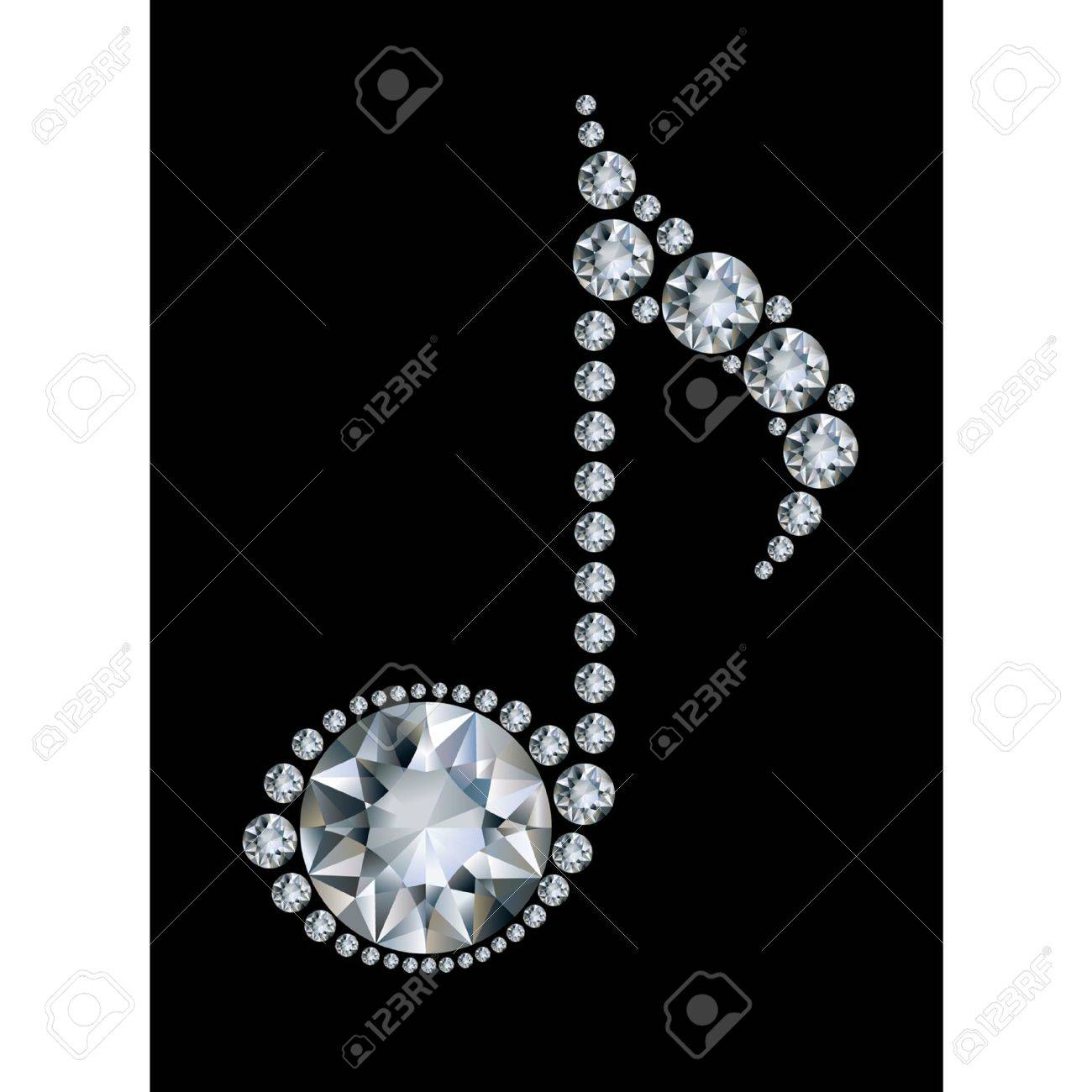 Diamond Music Note On Black Background Royalty Free Cliparts