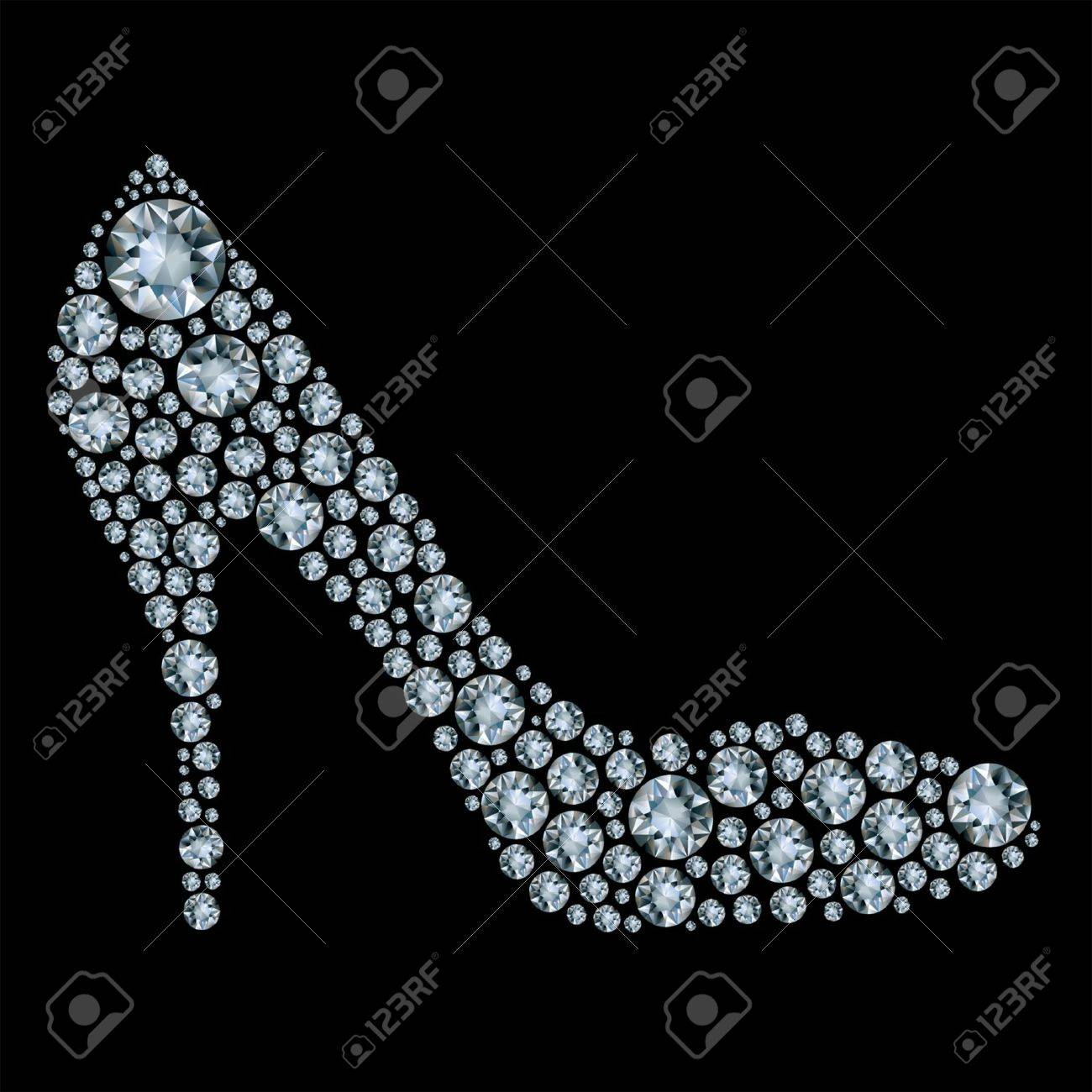 Shoes shape made up a lot of diamond on the black background Stock Vector - 9626034
