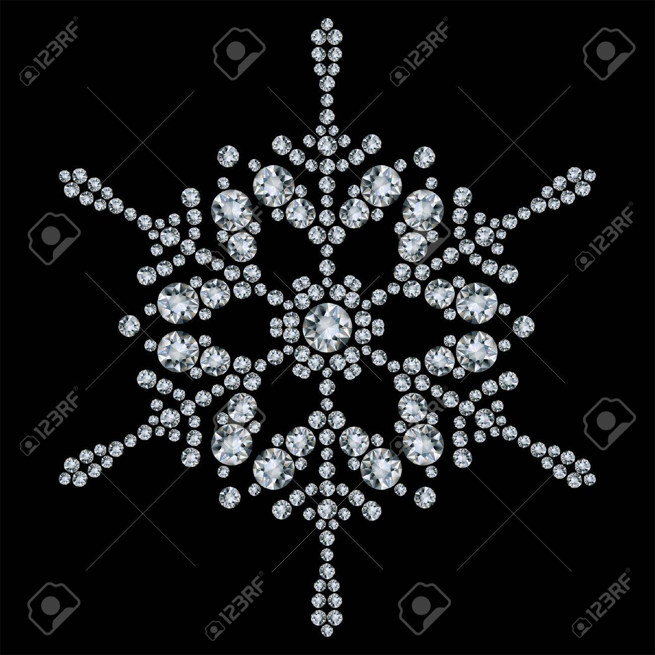 Snowflake made from diamonds. vector illustration Stock Vector - 9720354