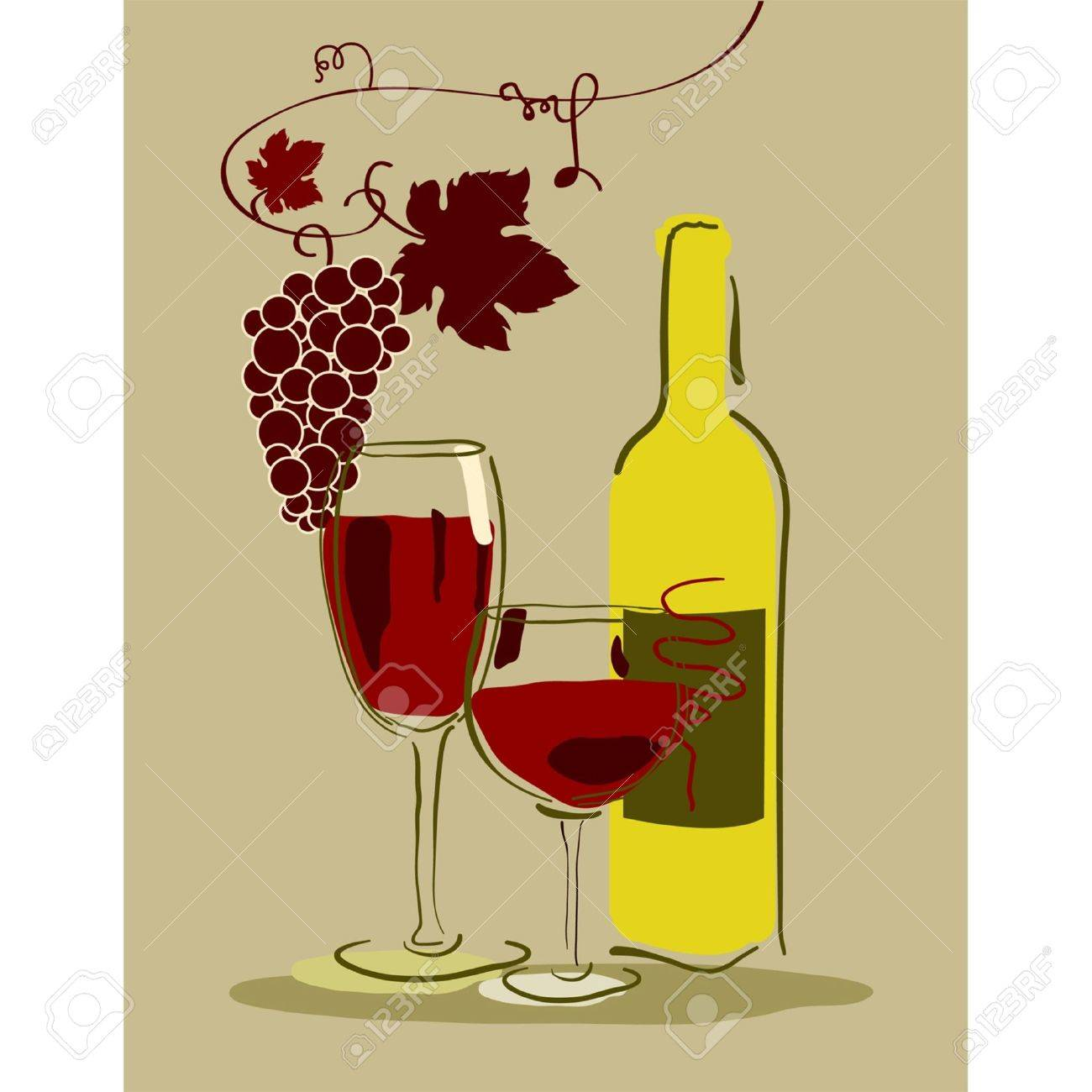 Stock Vector Illustration: A glass of red wine with grapes Stock Vector - 10104022