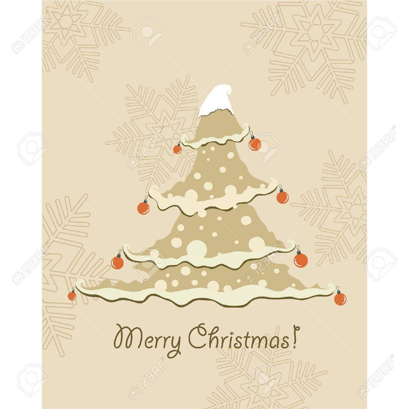 Vintage Christmas Card Beautiful Christmas Tree Illustration Royalty Free Cliparts Vectors And Stock Illustration Image 10566079