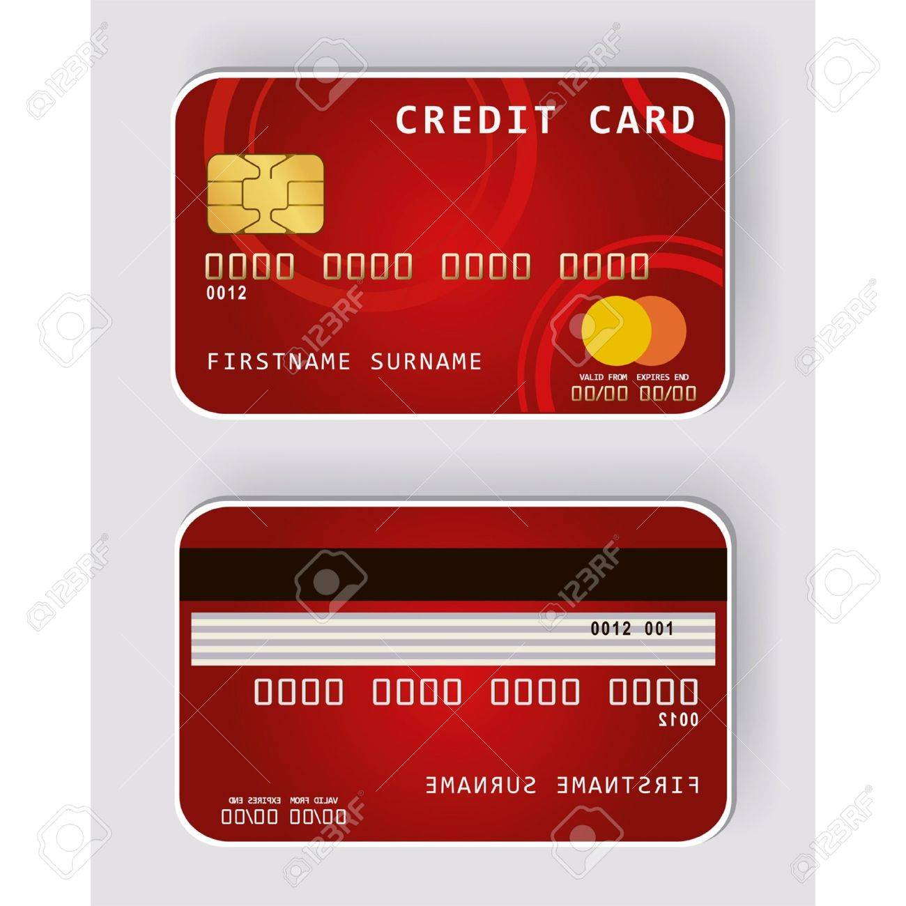 Red credit card Banking concept front and back view Stock Vector - 13746368