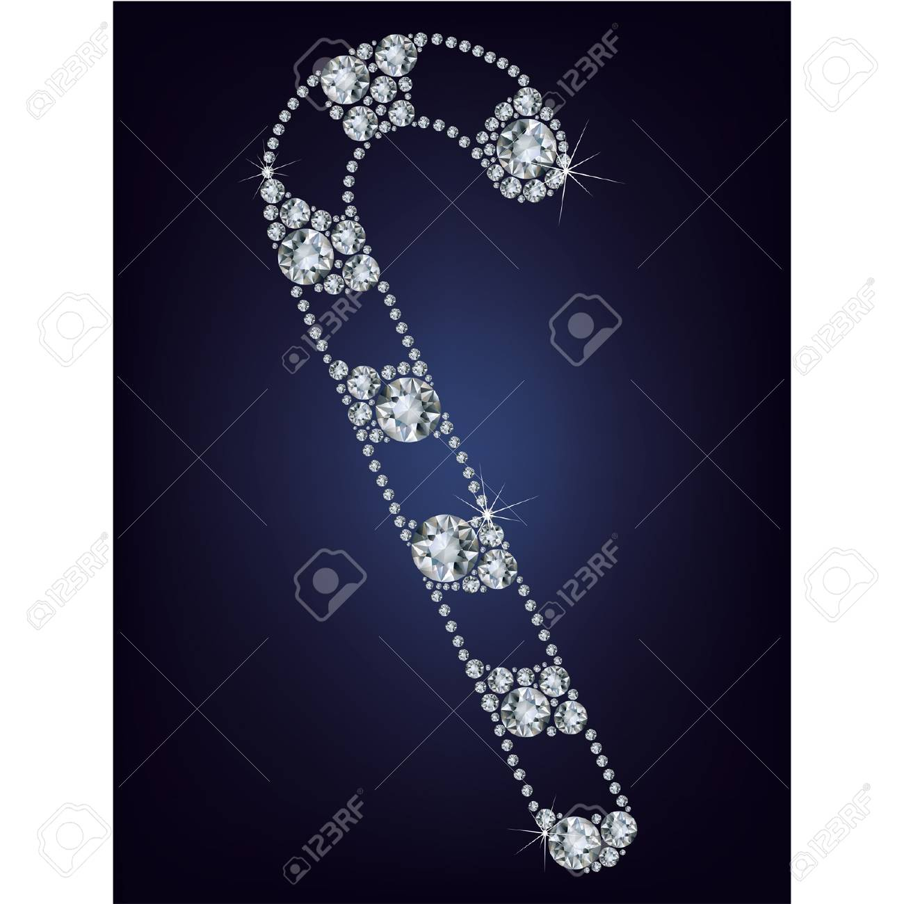 Christmas candy cane made from diamonds Stock Vector - 16724839