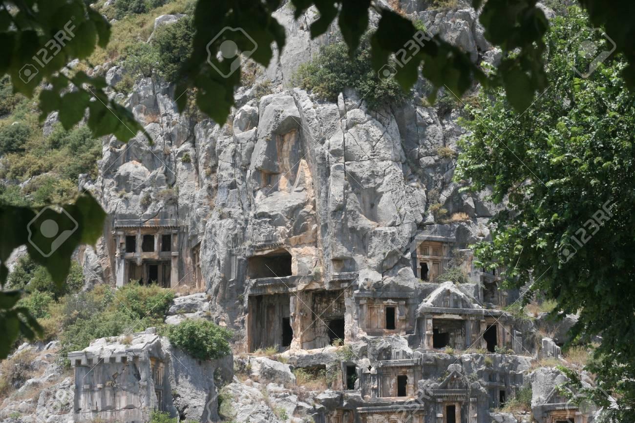 Caves early hritsian in Turkey, Demre Stock Photo - 21108444