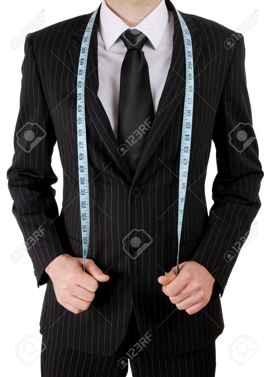 This is an image of business man wearing a tape measure across his suit. Stock Photo - 5210600