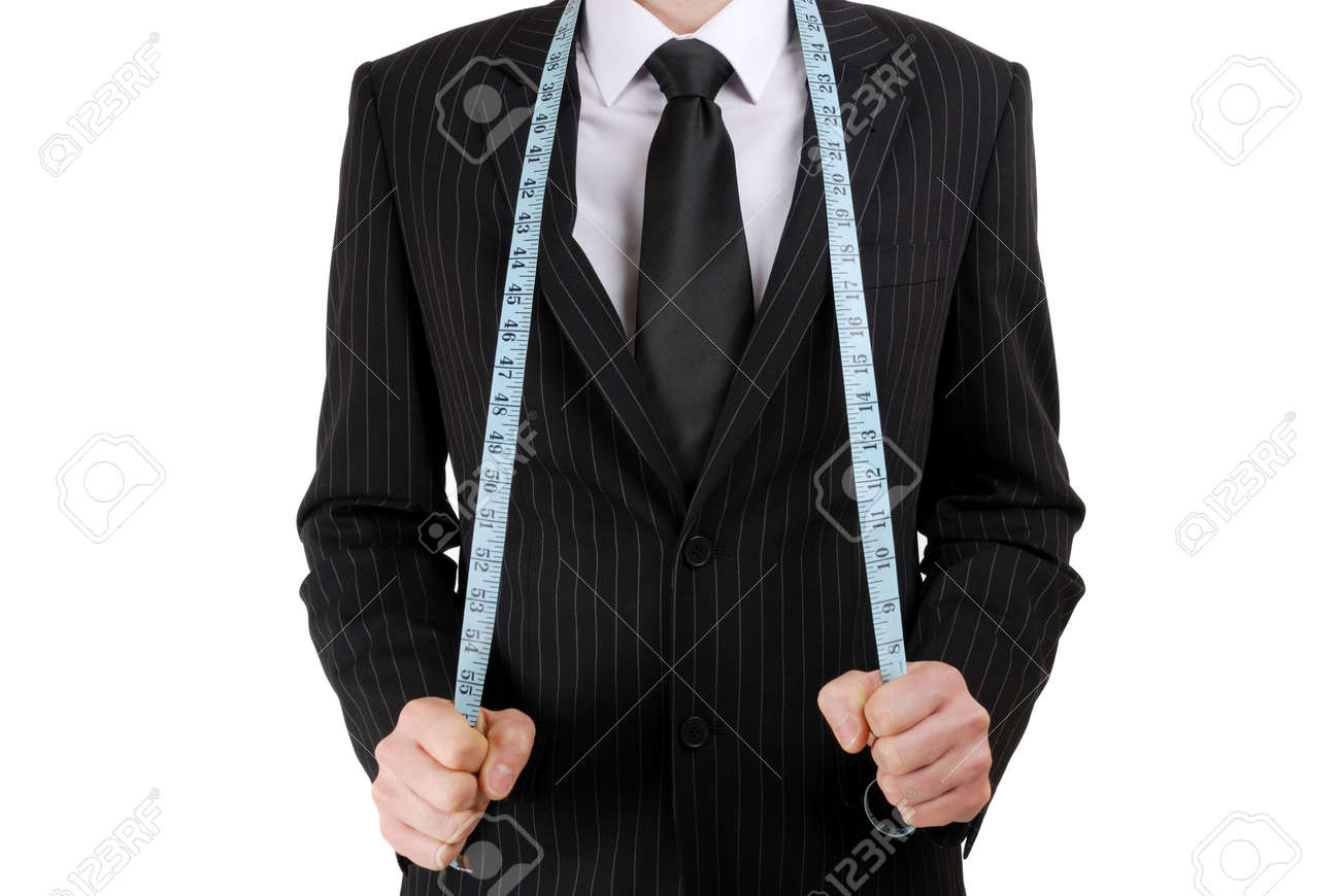 This is an image of business man wearing a tape measure across his suit. Stock Photo - 5210602