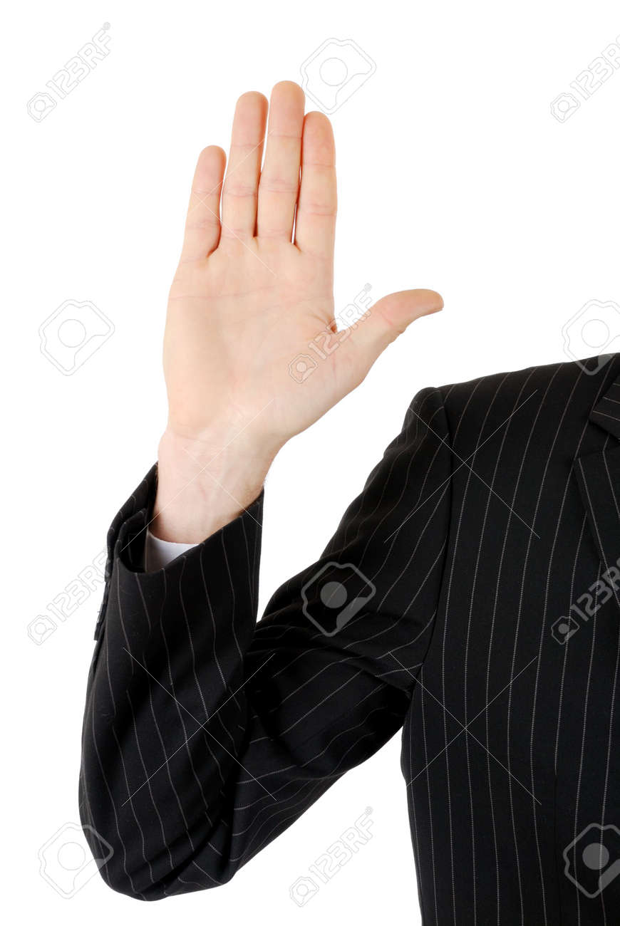 This is an image of business man with his hand up. Stock Photo - 5210606