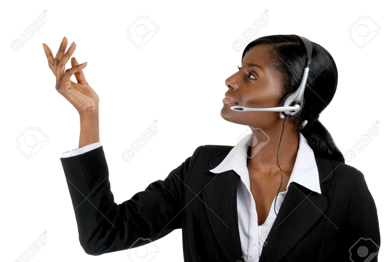 This is an image of a  business woman wearing microphone headset. This image can be used for telecommunication and service themes. Stock Photo - 9393187