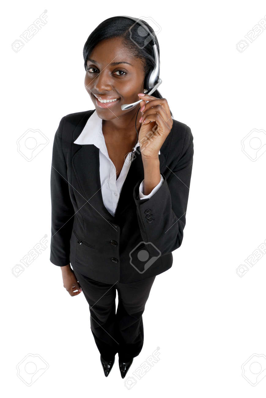 This is an image of a  business woman wearing microphone headset. This image can be used for telecommunication and service themes. Stock Photo - 9393155